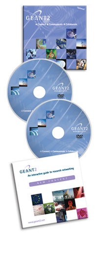 CD and DVD packaging  for the GÉANT2 'movie'.