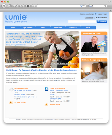 Lumie Light Therapy web design by The Art Department